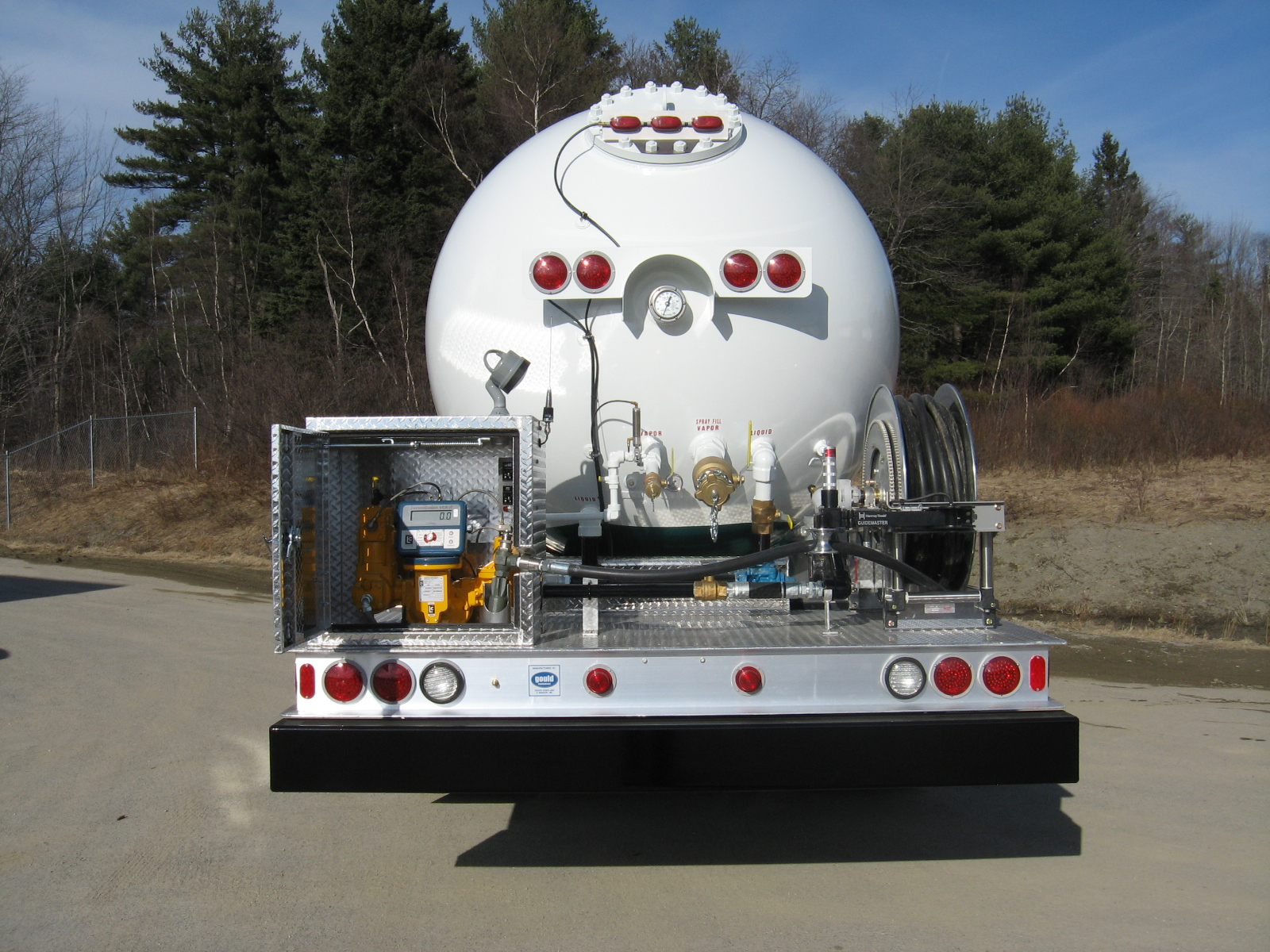 Propane truck, new, back view